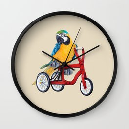 Parrot macaw on red bike Wall Clock