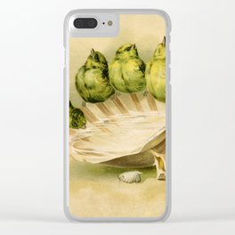 Vintage Yellow Birds on Seashell Clear iPhone Case