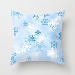 Blue White Winter Snowflakes Design Throw Pillow