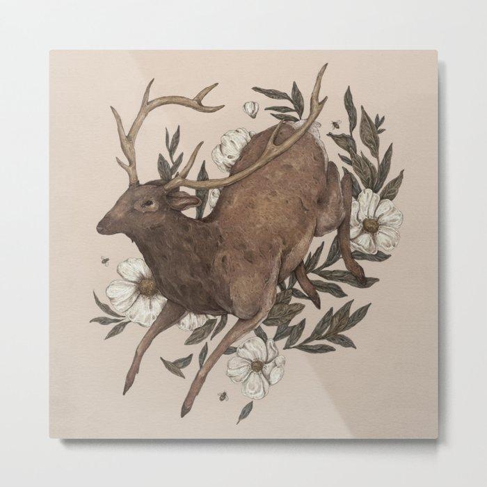 Floral Elk Metal Print