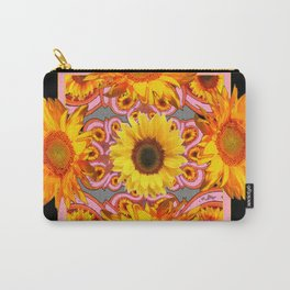 Grey-Black Geometric Sunflower Pink Art Carry-All Pouch