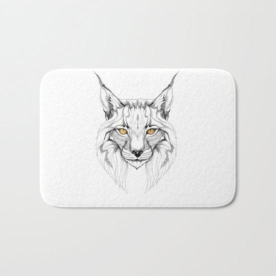Lynx pardinus (black stroke version for t-shirts) Bath Mat