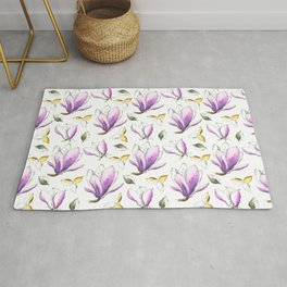 Magnolia Spring Ink Watercolor Pattern Rug