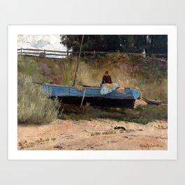 Tom Roberts Boat on Beach, Queenscliff Art Print