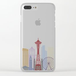 Seattle skyline poster Clear iPhone Case