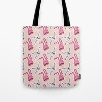 sticker Tote Bags featuring sticker monster pattern 7 by freshinkstain