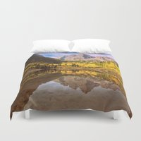 mountains Duvet Covers featuring mountains. Mirror Lake by 2sweet4words Designs