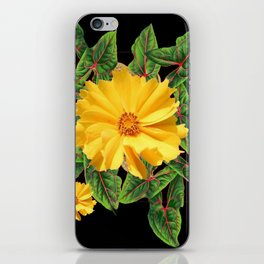 BLACK & YELLOW COREOPSIS   FLORAL ART DESIGN iPhone Skin