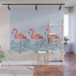 Seaside Flamingos Wall Mural
