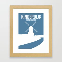 Kinderdijk , Netherlands windmill vacation poster. Framed Art Print