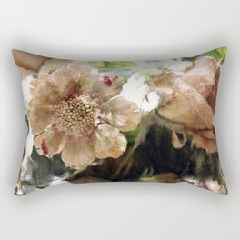 Peach Coral Green Abstract Impressionistic Flowers Wall Prints Home Decor Rectangular Pillow