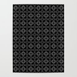 Dark Black and White Interlocking Square Pattern Poster