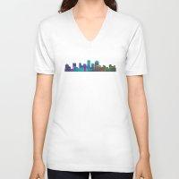cityscape V-neck T-shirts featuring Seaside Cityscape by Klara Acel