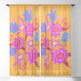 Neon Violets Sheer Curtain