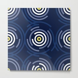 Spin Cycle – Navy / Yellow / Blue Circle Pattern Metal Print