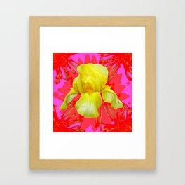 YELLOW IRIS MODERN ART RED FLORAL ABSTRACT Framed Art Print