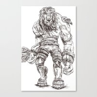 shadow of the colossus Canvas Prints featuring Minotaur from Shadow of the Colossus by Melissa Ou