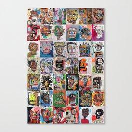 Basquiat Faces Montage Canvas Print