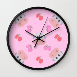 strawberry cow - pink Wall Clock