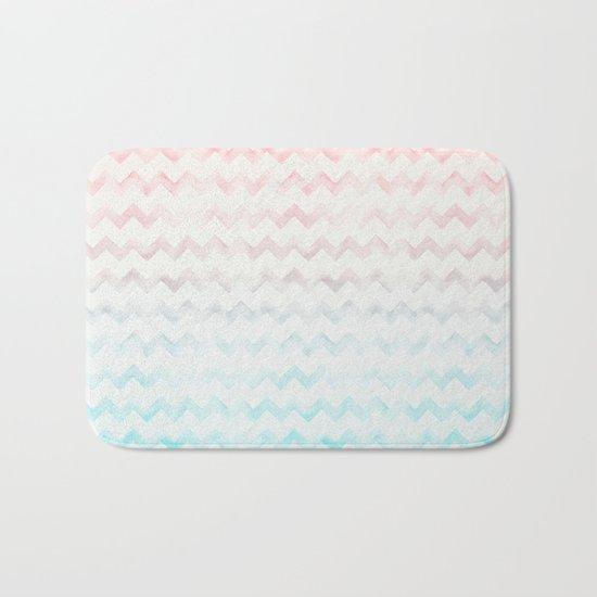 Watercolor Chevron pastel colors Bath Mat