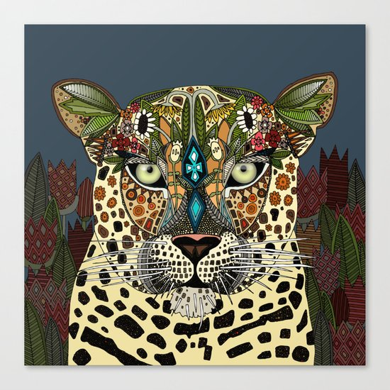 leopard queen blue Canvas Print