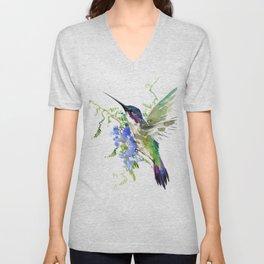 Hummingbird and Blue Flowers Unisex V-Neck