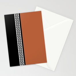 Greek Key 2 - Brown and Black Stationery Cards