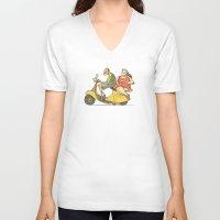 vespa V-neck T-shirts featuring Vespa by Yaeln