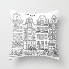 Amsterdam Line Art Throw Pillow