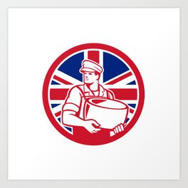 British Artisan Cheese Maker Union Jack Flag Icon Art Print