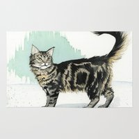maine Area & Throw Rugs featuring Maine Coon by Priscilla George