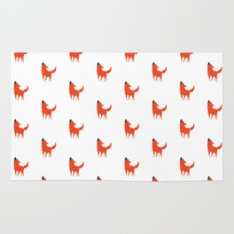 Red and White Dog pattern print Rug
