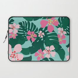 Hawaiian Tropical Palm Leaves + Hibiscus Floral Laptop Sleeve