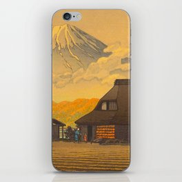Vintage Japanese Woodblock Print Sepia Japanese Farm Mount Fuji Farmer iPhone Skin