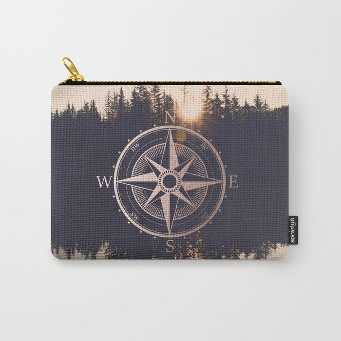 Rose Gold Compass Forest Carry-All Pouch