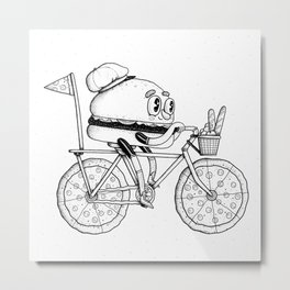 Pizzabike Burger Metal Print