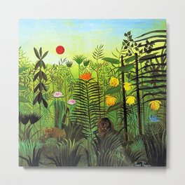 Exotic Jungle Landscape with Lion and Lioness by Henri Rousseau Metal Print