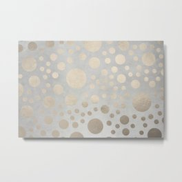 Champagne Gold Dots Pattern on Old Metal Texture Metal Print