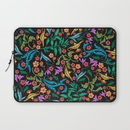 Asian-Inspired Floral Pattern With Gold Magical Lanterns Laptop Sleeve