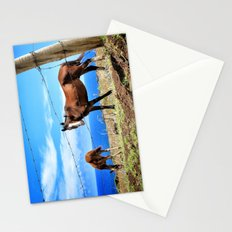 Horses against a blue sky Stationery Cards