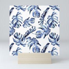 Blue Palm Leaves Mini Art Print