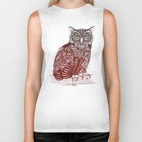 ornate Biker Tanks featuring Most Ornate Owl by Rachel Caldwell