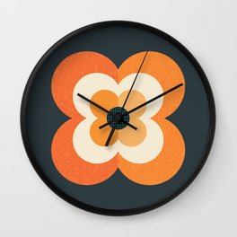RETRO FLOWER - ORANGE AND CHARCOAL Wall Clock