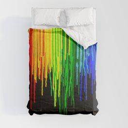 Rainbow Paint Drops on Black Comforters
