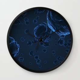 Abstract blue virus cells Wall Clock