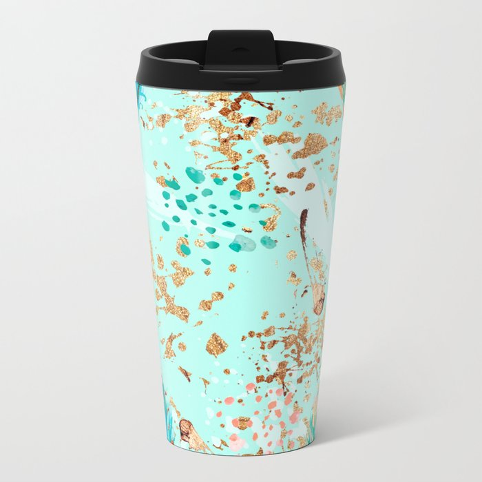 Feather peacock peach mint #7 Metal Travel Mug