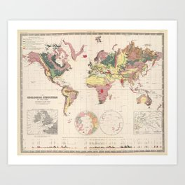 Vintage Geological Map of The World (1856) Art Print