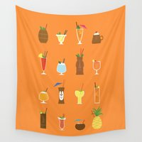 tiki Wall Tapestries featuring Tiki Drinks by Sara Showalter