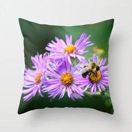 Bee Vibrant Beautiful Purple Flowers Throw Pillow