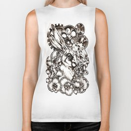 Black and white bunny and gears Biker Tank